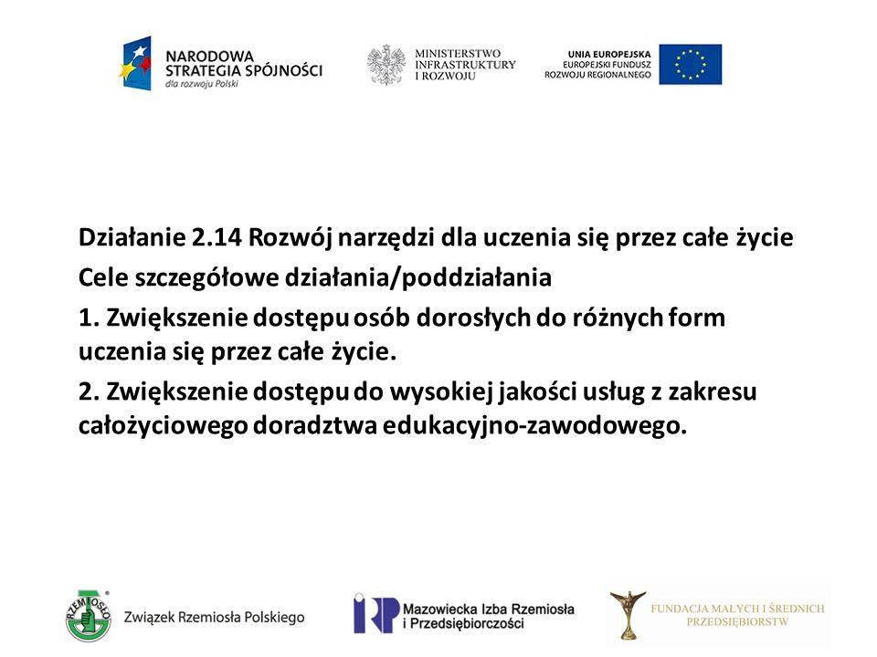 Działanie 2.14 Rozwój narzędzi dla uczenia się przez całe życie Cele szczegółowe działania/poddziałania 1. Zwiększenie dostępu osób dorosłych do różny