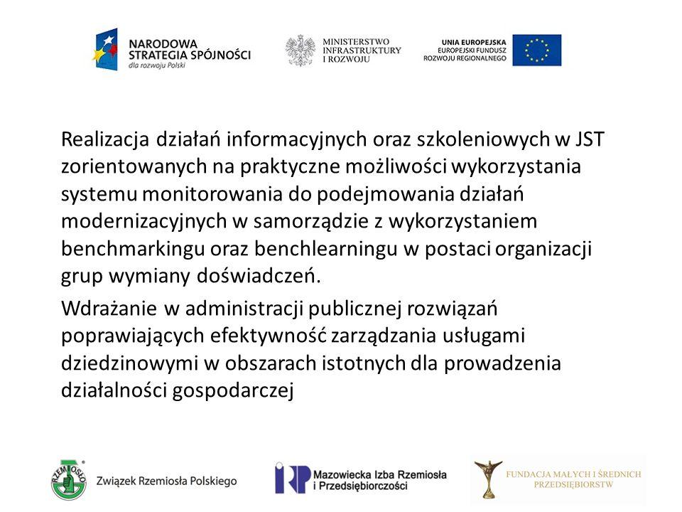 Realizacja działań informacyjnych oraz szkoleniowych w JST zorientowanych na praktyczne możliwości wykorzystania systemu monitorowania do podejmowania