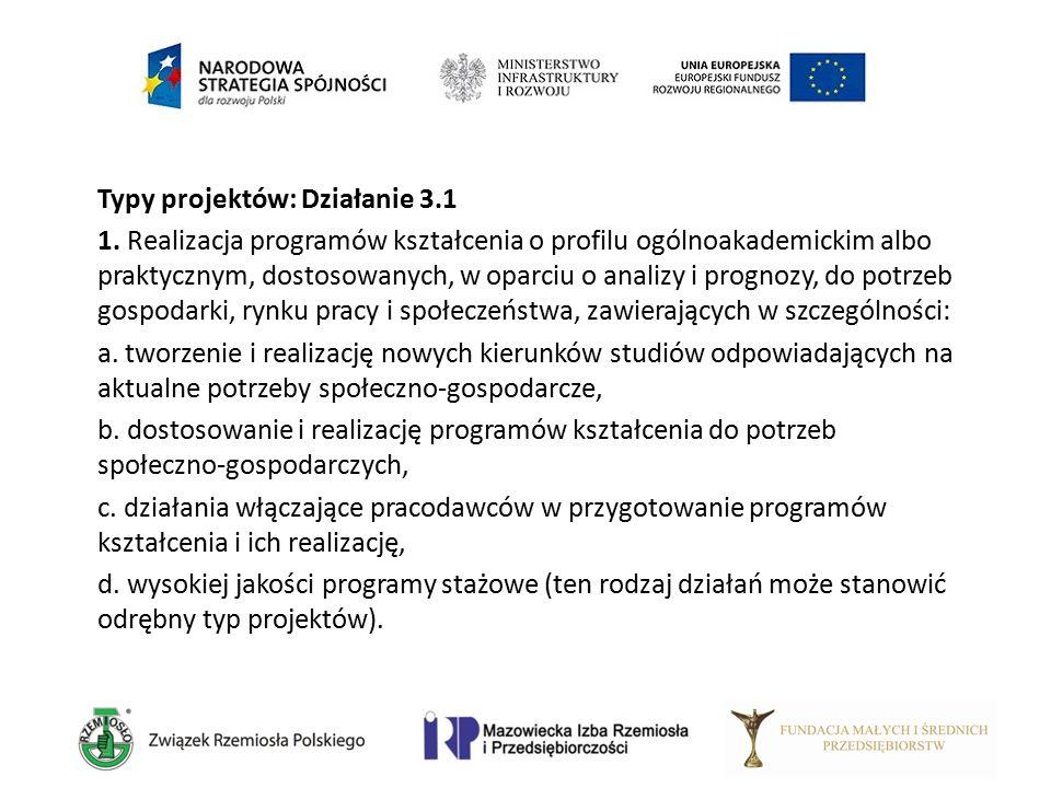 Typy projektów: Działanie 3.1 1. Realizacja programów kształcenia o profilu ogólnoakademickim albo praktycznym, dostosowanych, w oparciu o analizy i p