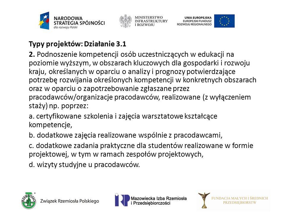 Typy projektów: Działanie 3.1 2. Podnoszenie kompetencji osób uczestniczących w edukacji na poziomie wyższym, w obszarach kluczowych dla gospodarki i