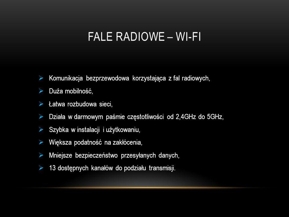FALE RADIOWE – WI-FI  Komunikacja bezprzewodowa korzystająca z fal radiowych,  Duża mobilność,  Łatwa rozbudowa sieci,  Działa w darmowym paśmie c