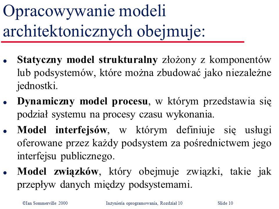 ©Ian Sommerville 2000 Inżynieria oprogramowania, Rozdział 10Slide 10 Opracowywanie modeli architektonicznych obejmuje: l Statyczny model strukturalny