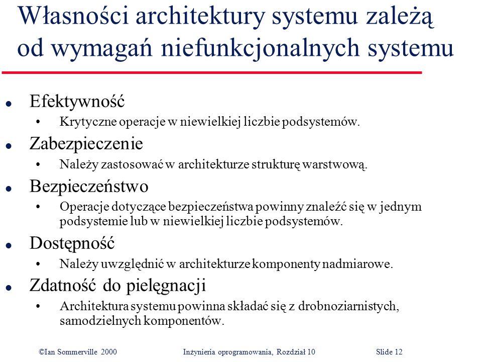 ©Ian Sommerville 2000 Inżynieria oprogramowania, Rozdział 10Slide 12 Własności architektury systemu zależą od wymagań niefunkcjonalnych systemu l Efek