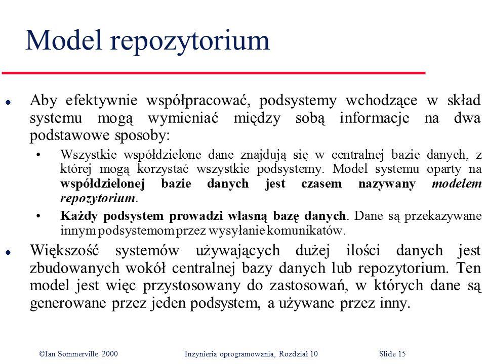©Ian Sommerville 2000 Inżynieria oprogramowania, Rozdział 10Slide 15 Model repozytorium l Aby efektywnie współpracować, podsystemy wchodzące w skład s