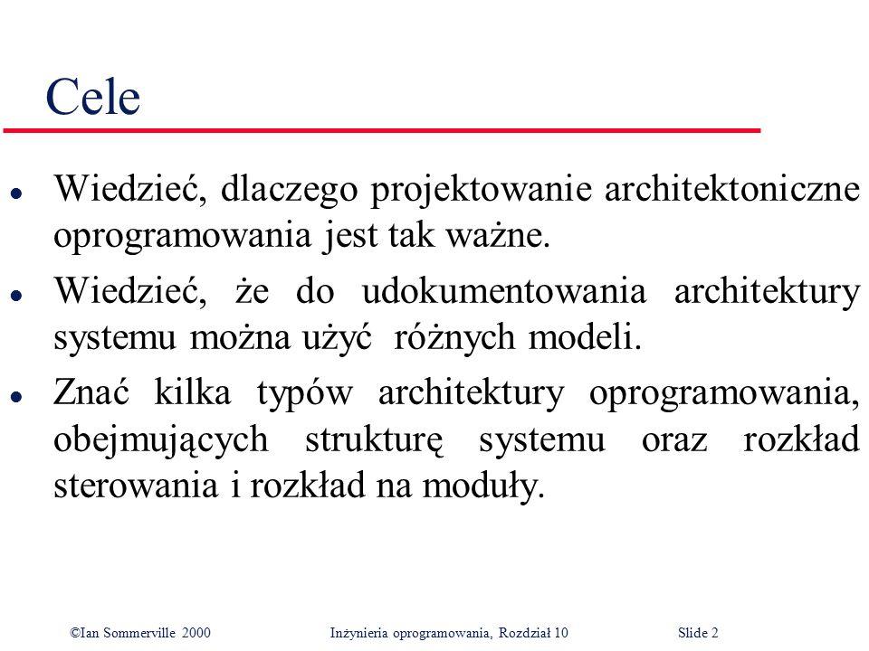 ©Ian Sommerville 2000 Inżynieria oprogramowania, Rozdział 10Slide 2 Cele l Wiedzieć, dlaczego projektowanie architektoniczne oprogramowania jest tak w