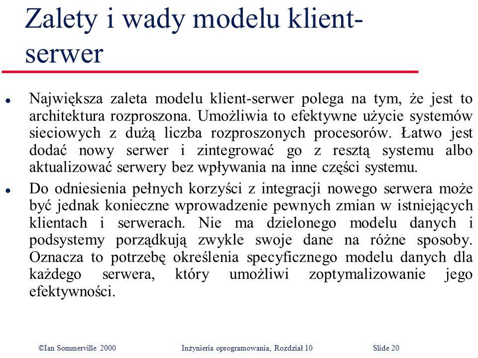 ©Ian Sommerville 2000 Inżynieria oprogramowania, Rozdział 10Slide 20 Zalety i wady modelu klient- serwer l Największa zaleta modelu klient-serwer pole