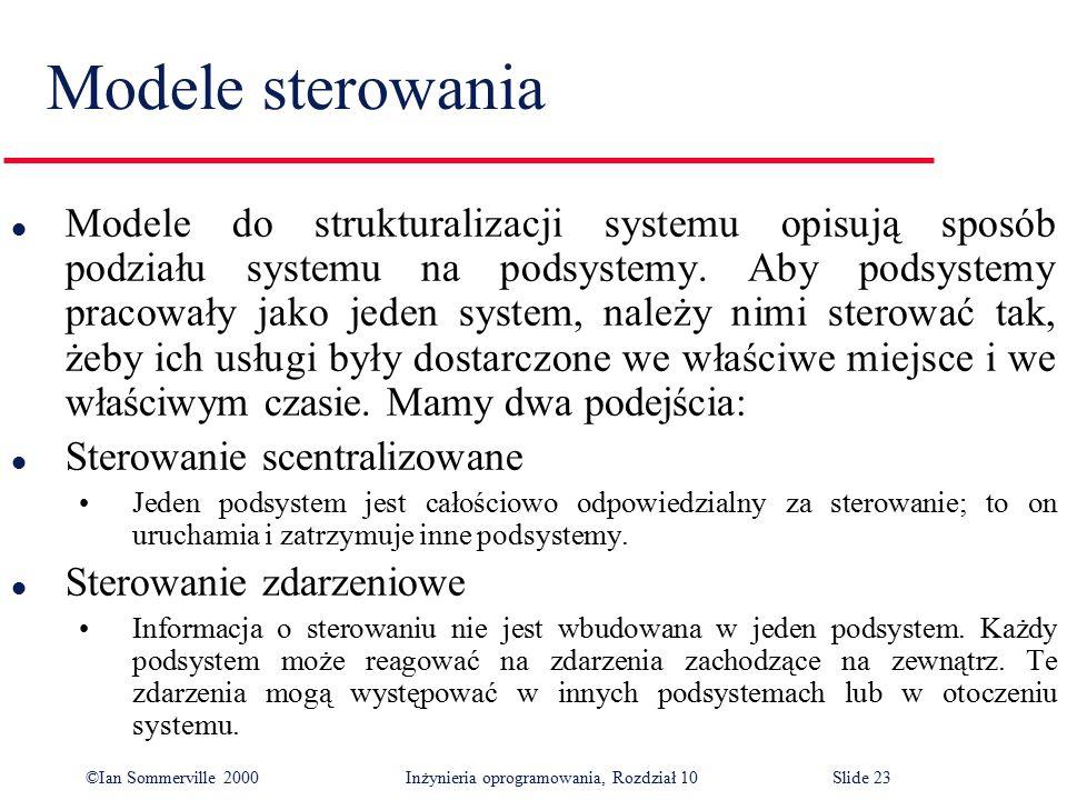©Ian Sommerville 2000 Inżynieria oprogramowania, Rozdział 10Slide 23 Modele sterowania l Modele do strukturalizacji systemu opisują sposób podziału sy
