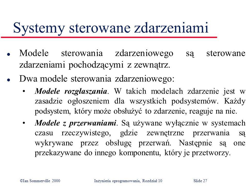 ©Ian Sommerville 2000 Inżynieria oprogramowania, Rozdział 10Slide 27 Systemy sterowane zdarzeniami l Modele sterowania zdarzeniowego są sterowane zdar