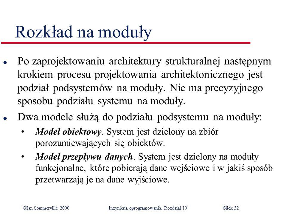 ©Ian Sommerville 2000 Inżynieria oprogramowania, Rozdział 10Slide 32 Rozkład na moduły l Po zaprojektowaniu architektury strukturalnej następnym kroki