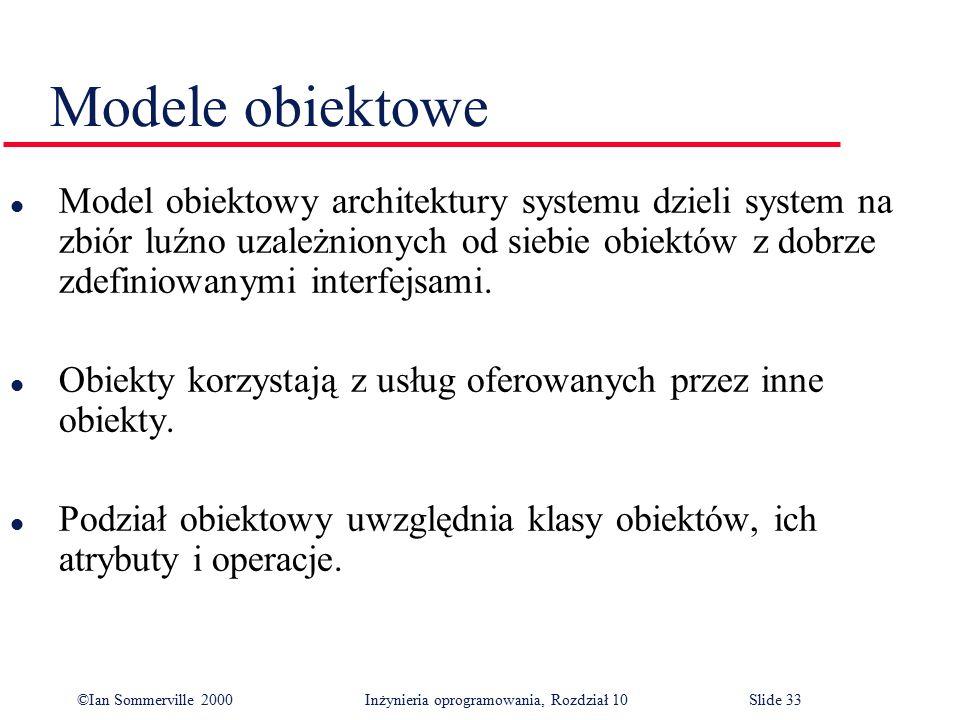 ©Ian Sommerville 2000 Inżynieria oprogramowania, Rozdział 10Slide 33 Modele obiektowe l Model obiektowy architektury systemu dzieli system na zbiór lu