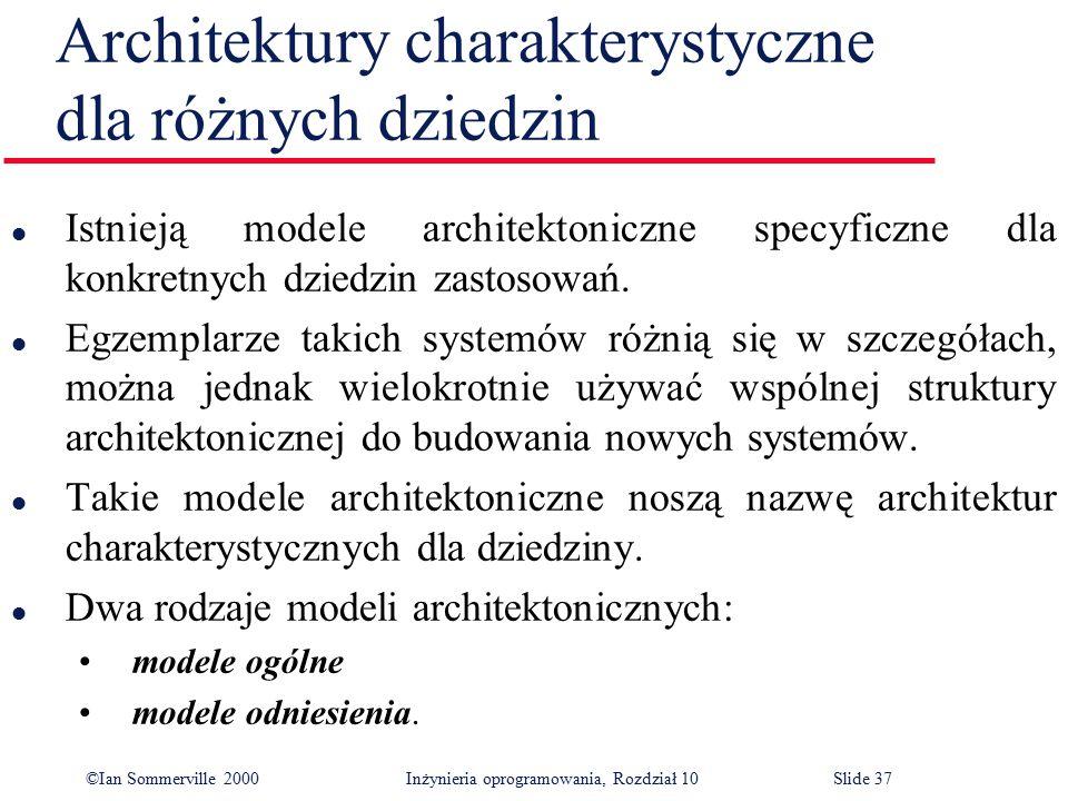 ©Ian Sommerville 2000 Inżynieria oprogramowania, Rozdział 10Slide 37 Architektury charakterystyczne dla różnych dziedzin l Istnieją modele architekton