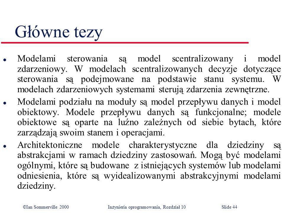©Ian Sommerville 2000 Inżynieria oprogramowania, Rozdział 10Slide 44 Główne tezy l Modelami sterowania są model scentralizowany i model zdarzeniowy. W