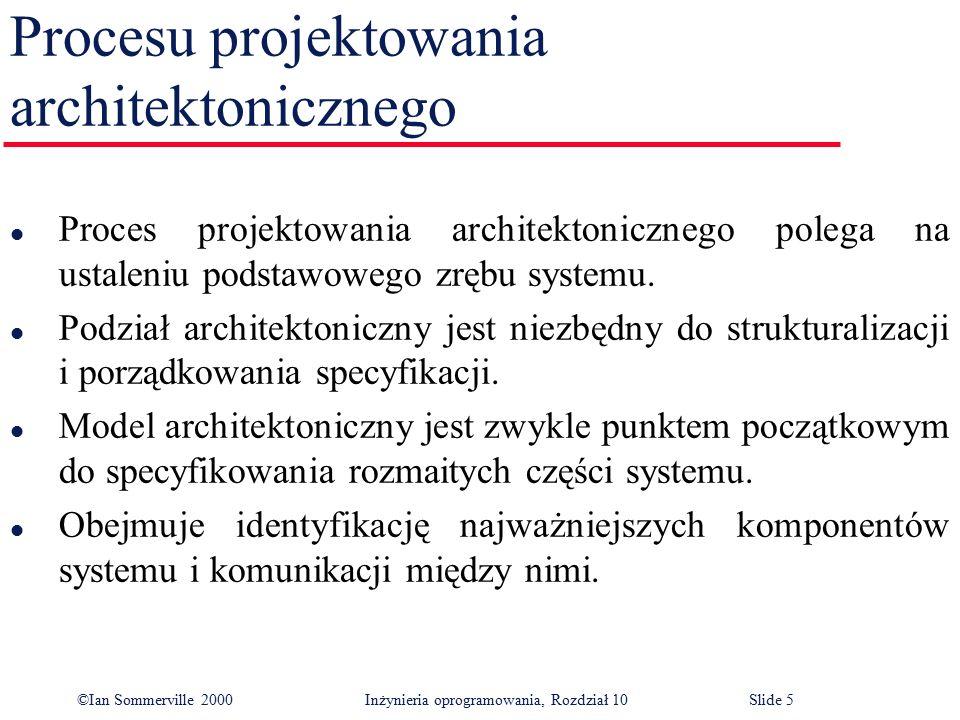 ©Ian Sommerville 2000 Inżynieria oprogramowania, Rozdział 10Slide 5 Procesu projektowania architektonicznego l Proces projektowania architektonicznego