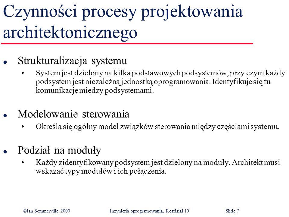 ©Ian Sommerville 2000 Inżynieria oprogramowania, Rozdział 10Slide 7 Czynności procesy projektowania architektonicznego l Strukturalizacja systemu Syst