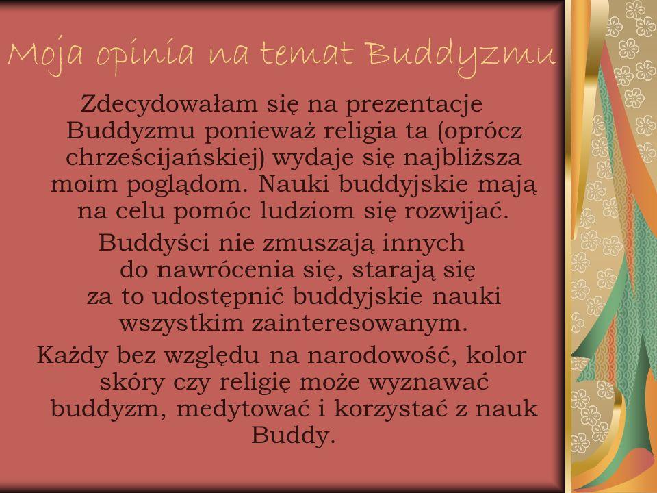 Moja opinia na temat Buddyzmu Zdecydowałam się na prezentacje Buddyzmu ponieważ religia ta (oprócz chrześcijańskiej) wydaje się najbliższa moim pogląd