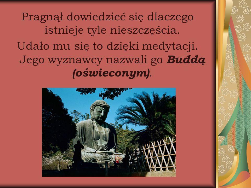 Pragnął dowiedzieć się dlaczego istnieje tyle nieszczęścia. Udało mu się to dzięki medytacji. Jego wyznawcy nazwali go Buddą (oświeconym).