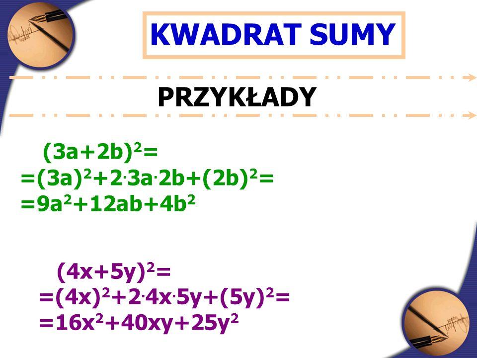 KWADRAT SUMY PRZYKŁADY (3a+2b) 2 = =(3a) 2 +2. 3a.