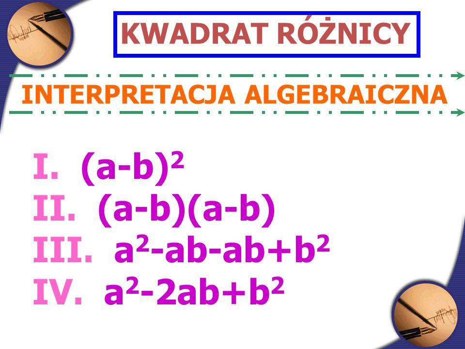 KWADRAT RÓŻNICY INTERPRETACJA ALGEBRAICZNA I. (a-b) 2 II.