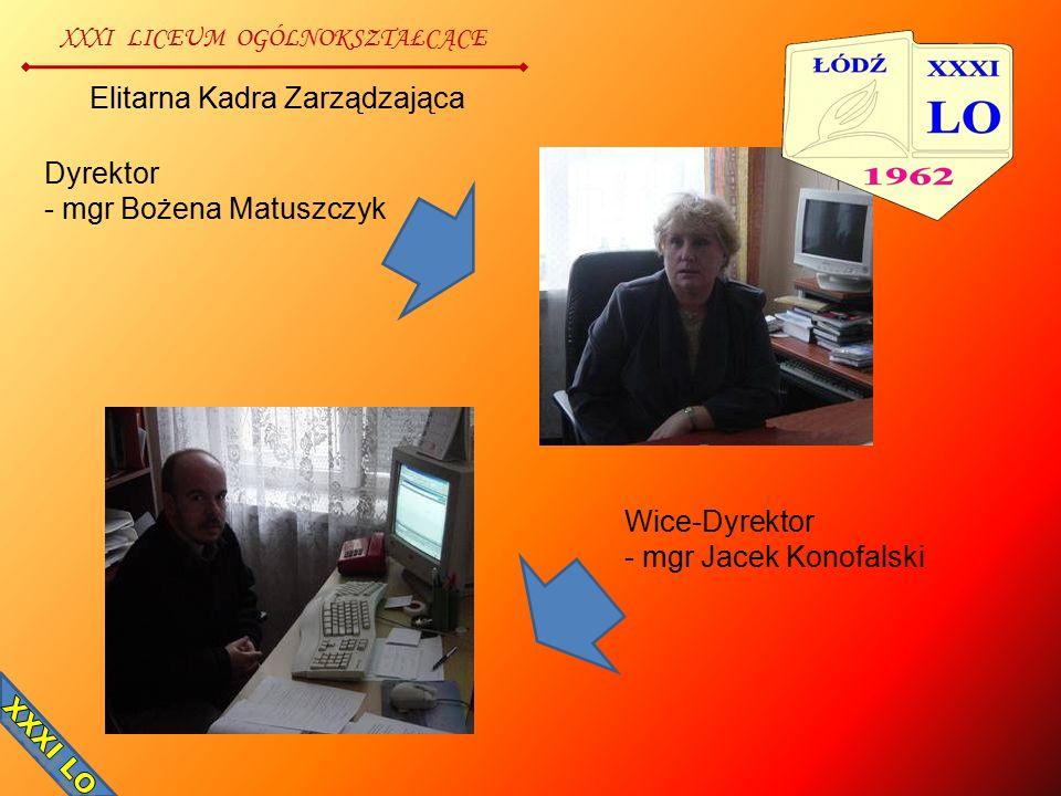 XXXI LICEUM OGÓLNOKSZTAŁCĄCE Elitarna Kadra Zarządzająca Dyrektor - mgr Bożena Matuszczyk Wice-Dyrektor - mgr Jacek Konofalski