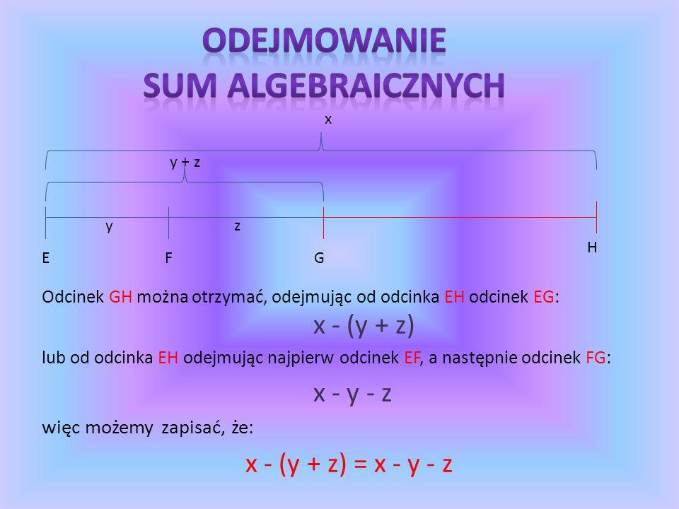1.Opuszczamy nawiasy 2.Redukujemy wyrazy podobne 3.4x + ( 2y – 5x) = 4x + ( 2y – 5x) = 4x + 2y – 5x = – x + 2y