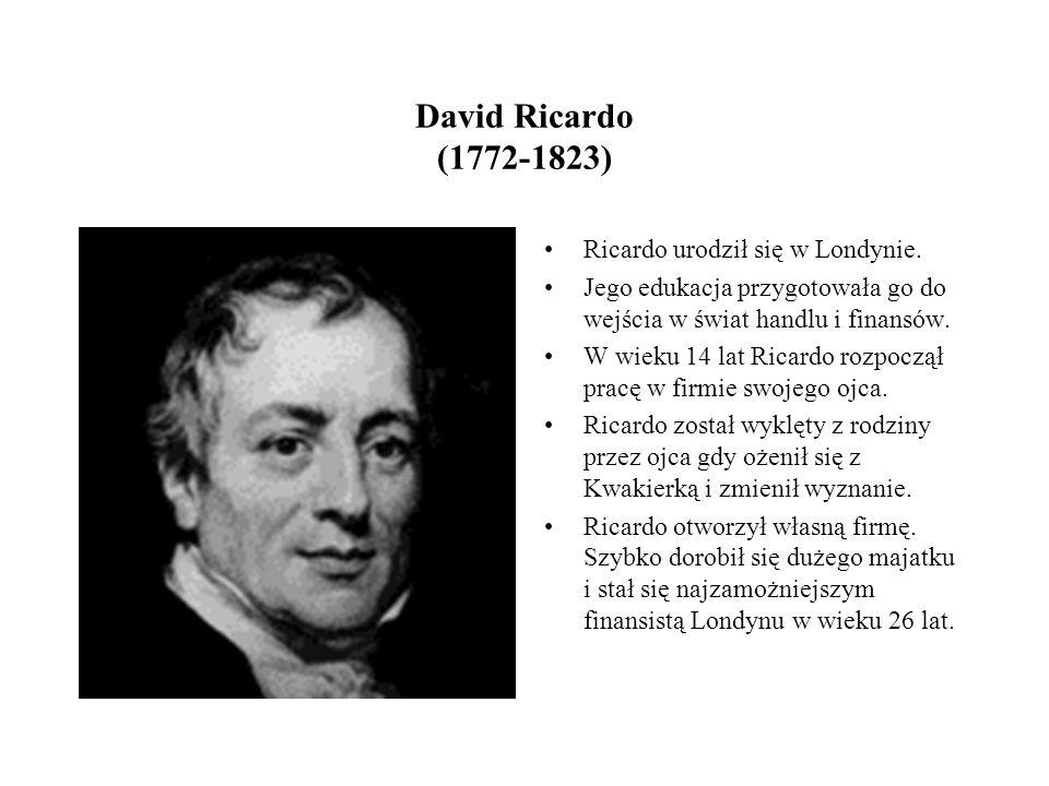 David Ricardo (1772-1823) Ricardo urodził się w Londynie.