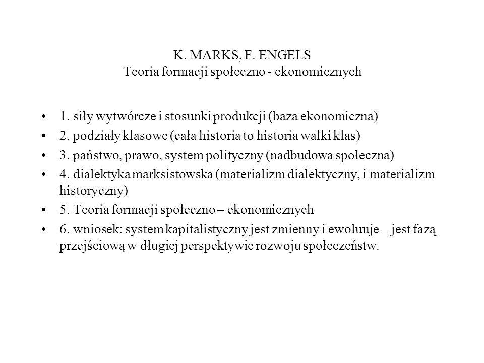 K. MARKS, F. ENGELS Teoria formacji społeczno - ekonomicznych 1.