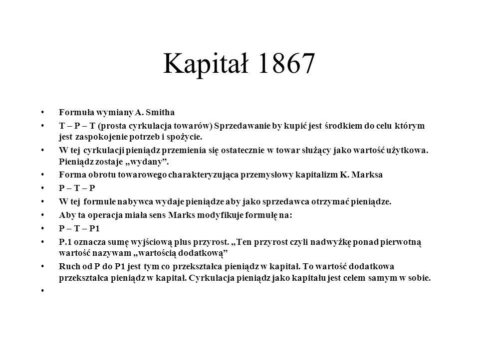 Kapitał 1867 Formuła wymiany A.