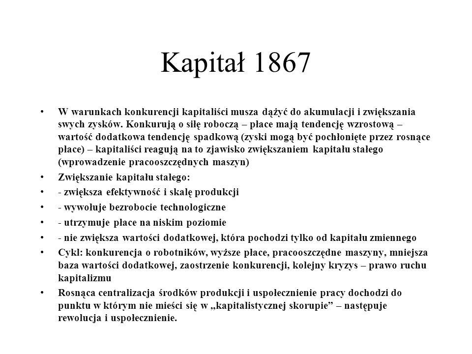 Kapitał 1867 W warunkach konkurencji kapitaliści musza dążyć do akumulacji i zwiększania swych zysków.
