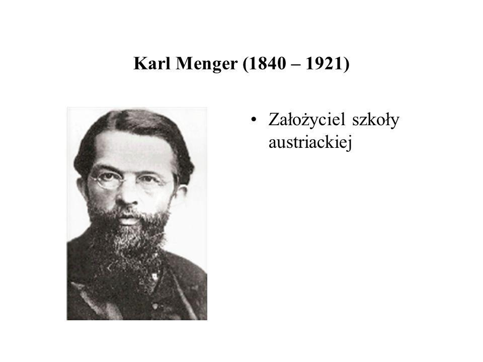 Karl Menger (1840 – 1921) Założyciel szkoły austriackiej
