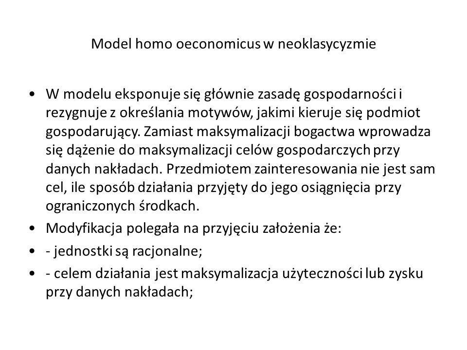Model homo oeconomicus w neoklasycyzmie W modelu eksponuje się głównie zasadę gospodarności i rezygnuje z określania motywów, jakimi kieruje się podmiot gospodarujący.