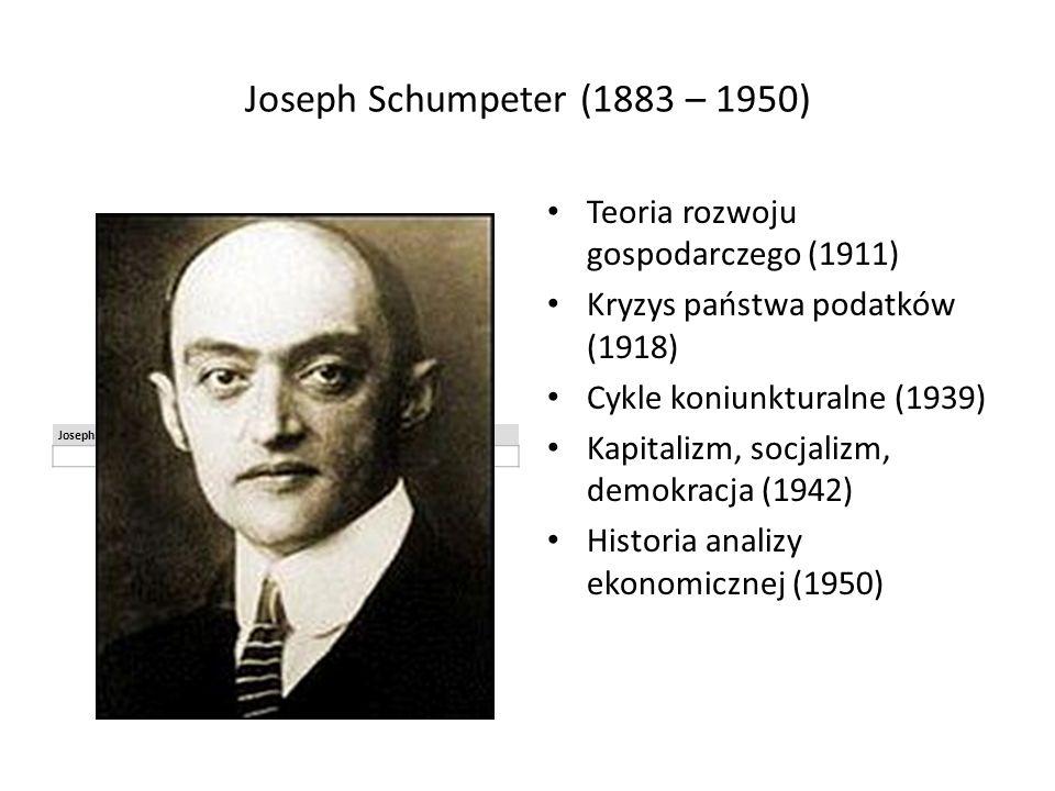 Joseph Schumpeter (1883 – 1950) Joseph Alois Schumpeter Teoria rozwoju gospodarczego (1911) Kryzys państwa podatków (1918) Cykle koniunkturalne (1939) Kapitalizm, socjalizm, demokracja (1942) Historia analizy ekonomicznej (1950)