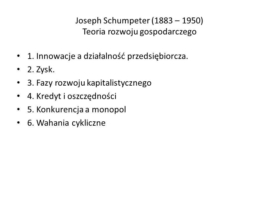 Joseph Schumpeter (1883 – 1950) Teoria rozwoju gospodarczego 1.