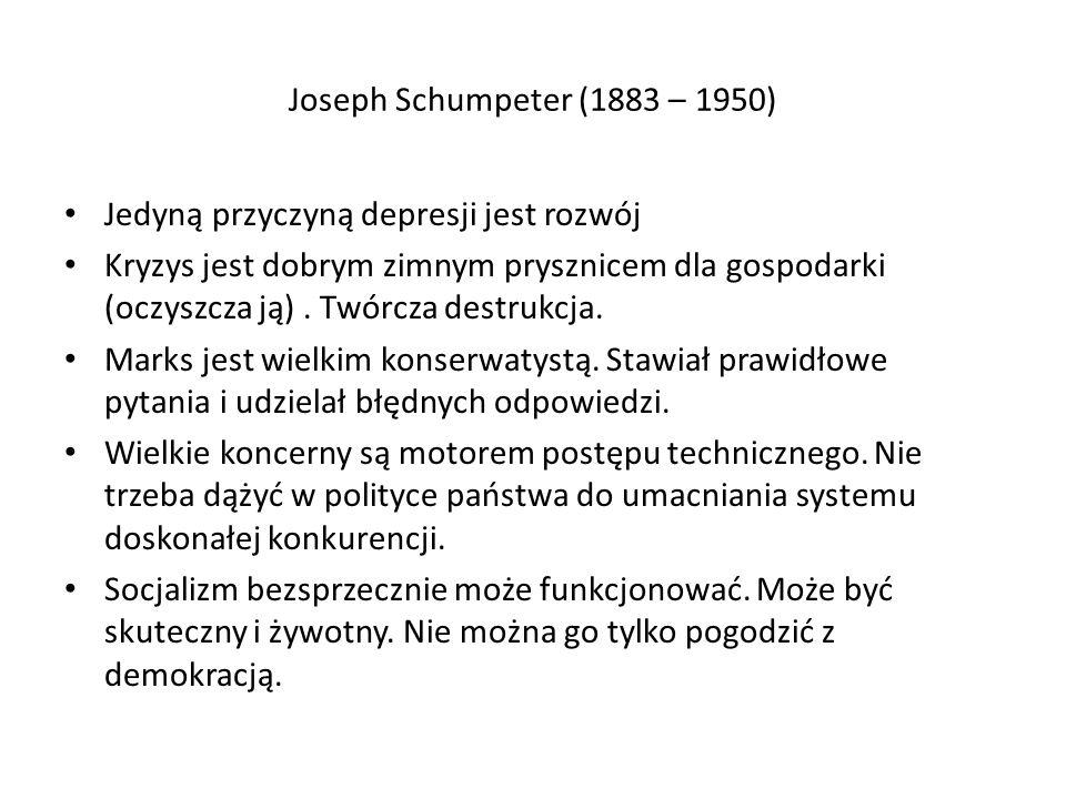 Joseph Schumpeter (1883 – 1950) Jedyną przyczyną depresji jest rozwój Kryzys jest dobrym zimnym prysznicem dla gospodarki (oczyszcza ją).