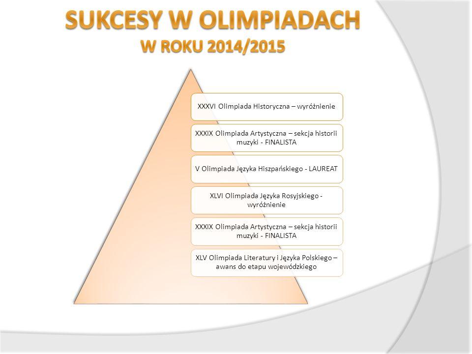 XXXVI Olimpiada Historyczna – wyróżnienie XXXIX Olimpiada Artystyczna – sekcja historii muzyki - FINALISTA V Olimpiada Języka Hiszpańskiego - LAUREAT