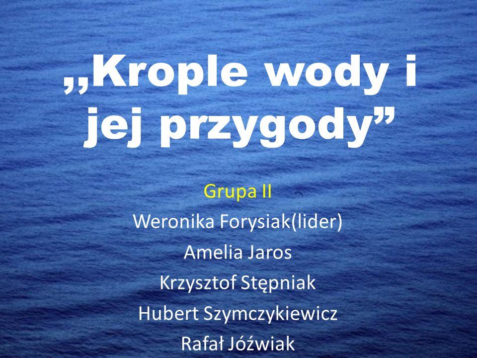 """,,Krople wody i jej przygody"""" Grupa II Weronika Forysiak(lider) Amelia Jaros Krzysztof Stępniak Hubert Szymczykiewicz Rafał Jóźwiak"""