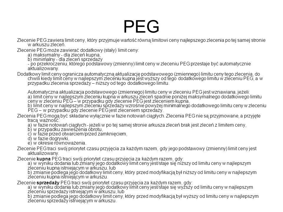 PEG Zlecenie PEG zawiera limit ceny, który przyjmuje wartość równą limitowi ceny najlepszego zlecenia po tej samej stronie w arkuszu zleceń.