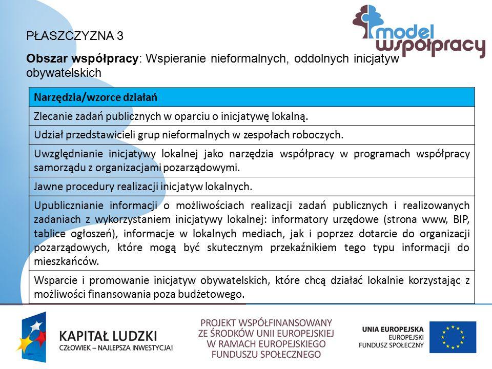 PŁASZCZYZNA 3 Obszar współpracy: Wspieranie nieformalnych, oddolnych inicjatyw obywatelskich Narzędzia/wzorce działań Zlecanie zadań publicznych w oparciu o inicjatywę lokalną.