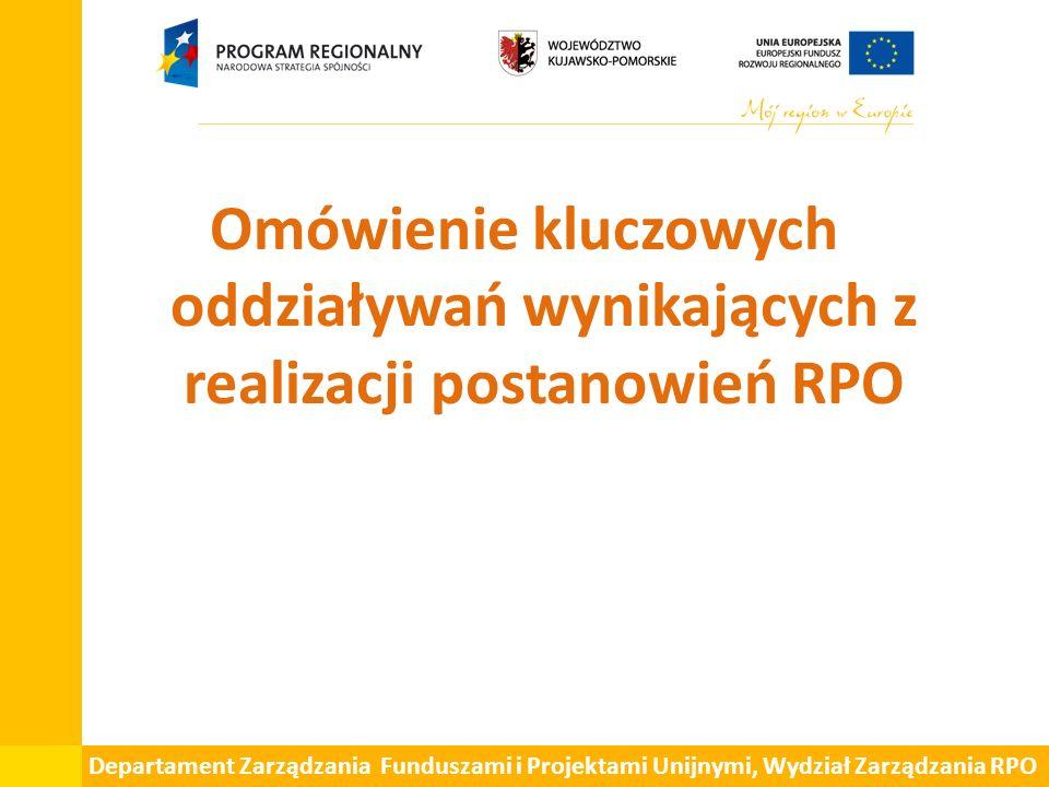 Departament Zarządzania Funduszami i Projektami Unijnymi, Wydział Zarządzania RPO Omówienie kluczowych oddziaływań wynikających z realizacji postanowień RPO