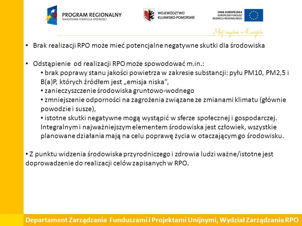 """Departament Zarządzania Funduszami i Projektami Unijnymi, Wydział Zarządzania RPO Brak realizacji RPO może mieć potencjalne negatywne skutki dla środowiska Odstąpienie od realizacji RPO może spowodować m.in.: brak poprawy stanu jakości powietrza w zakresie substancji: pyłu PM10, PM2,5 i B(a)P, których źródłem jest """"emisja niska , zanieczyszczenie środowiska gruntowo-wodnego zmniejszenie odporności na zagrożenia związane ze zmianami klimatu (głównie powodzie i susze), istotne skutki negatywne mogą wystąpić w sferze społecznej i gospodarczej."""