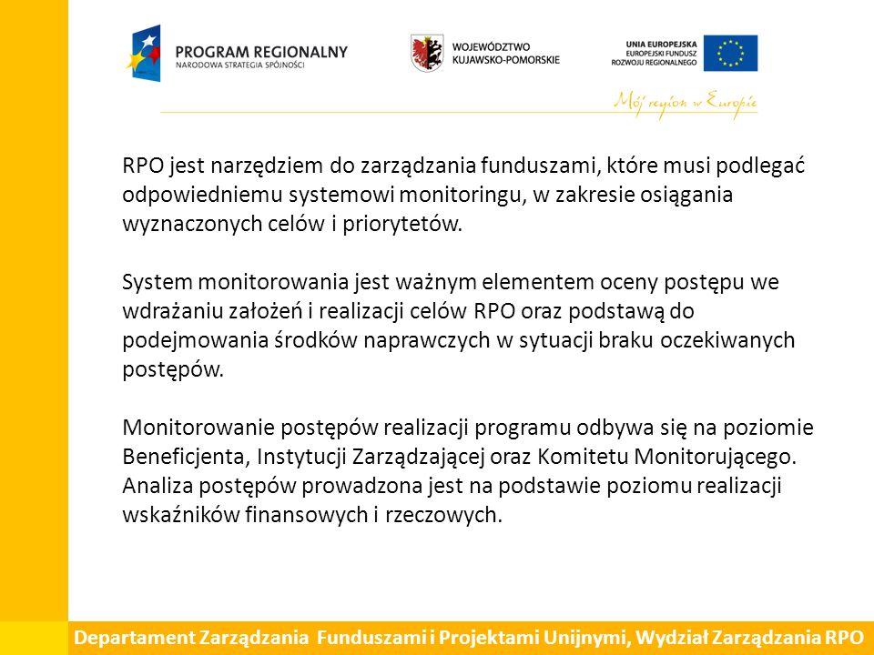 Departament Zarządzania Funduszami i Projektami Unijnymi, Wydział Zarządzania RPO RPO jest narzędziem do zarządzania funduszami, które musi podlegać odpowiedniemu systemowi monitoringu, w zakresie osiągania wyznaczonych celów i priorytetów.