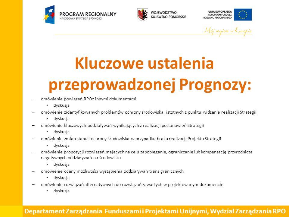 Departament Zarządzania Funduszami i Projektami Unijnymi, Wydział Zarządzania RPO Omówienie rozwiązań alternatywnych do rozwiązań zawartych w projektowanym dokumencie