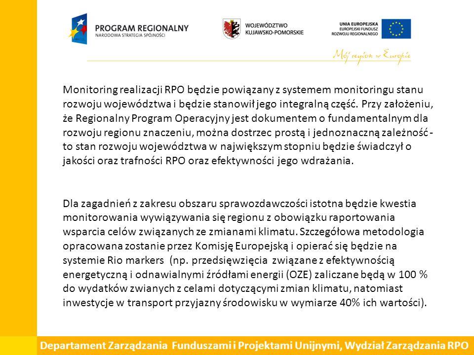 Monitoring realizacji RPO będzie powiązany z systemem monitoringu stanu rozwoju województwa i będzie stanowił jego integralną część.