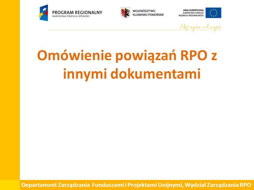 Departament Zarządzania Funduszami i Projektami Unijnymi, Wydział Zarządzania RPO Omówienie powiązań RPO z innymi dokumentami
