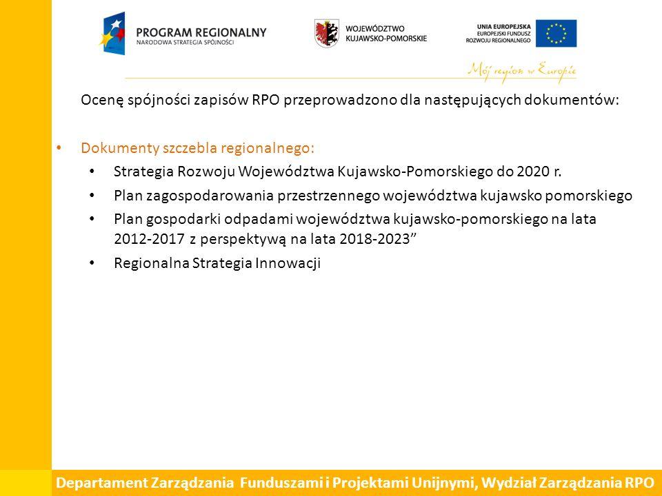 Departament Zarządzania Funduszami i Projektami Unijnymi, Wydział Zarządzania RPO Ocenę spójności zapisów RPO przeprowadzono dla następujących dokumentów: Dokumenty szczebla regionalnego: Strategia Rozwoju Województwa Kujawsko-Pomorskiego do 2020 r.