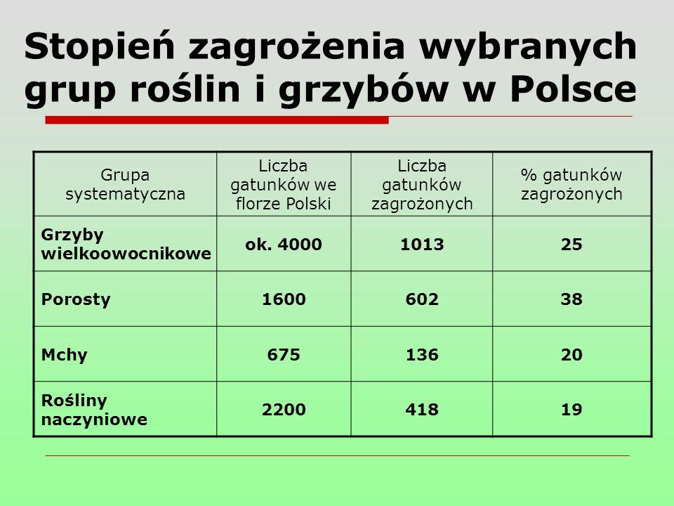 Stopień zagrożenia wybranych grup roślin i grzybów w Polsce Grupa systematyczna Liczba gatunków we florze Polski Liczba gatunków zagrożonych % gatunków zagrożonych Grzyby wielkoowocnikowe ok.