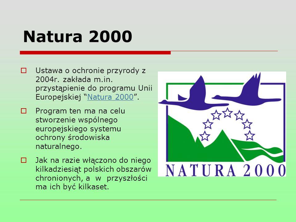 Natura 2000  Ustawa o ochronie przyrody z 2004r. zakłada m.in.