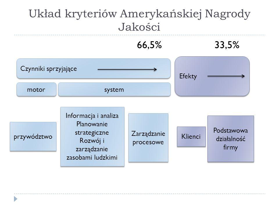 Układ kryteriów Amerykańskiej Nagrody Jakości 66,5% 33,5% Efekty Czynniki sprzyjające przywództwo Informacja i analiza Planowanie strategiczne Rozwój