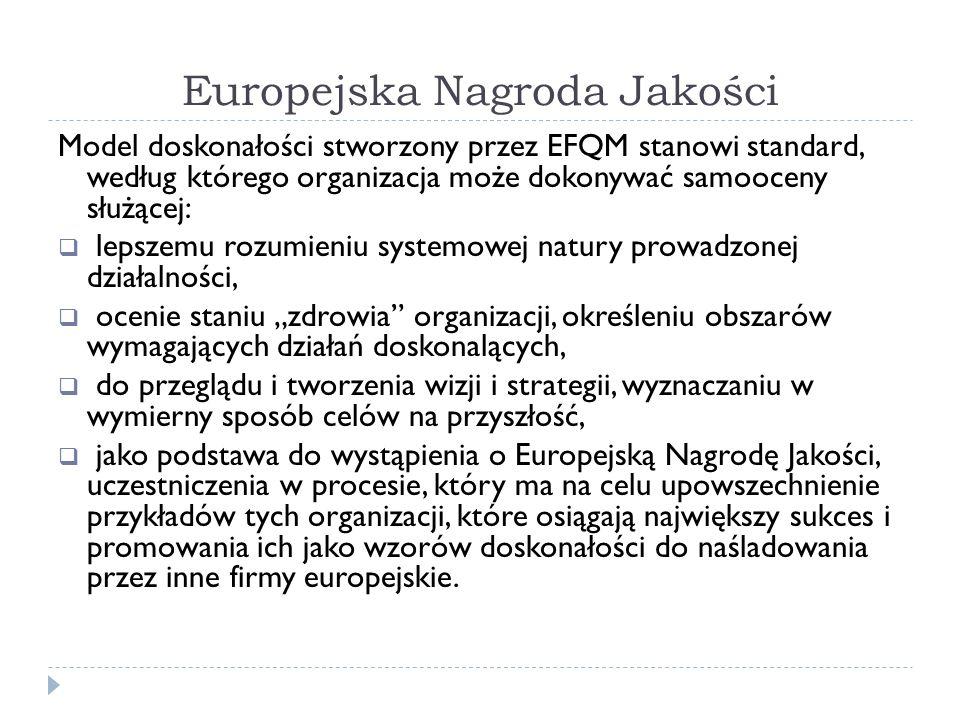 Europejska Nagroda Jakości Model doskonałości stworzony przez EFQM stanowi standard, według którego organizacja może dokonywać samooceny służącej:  l