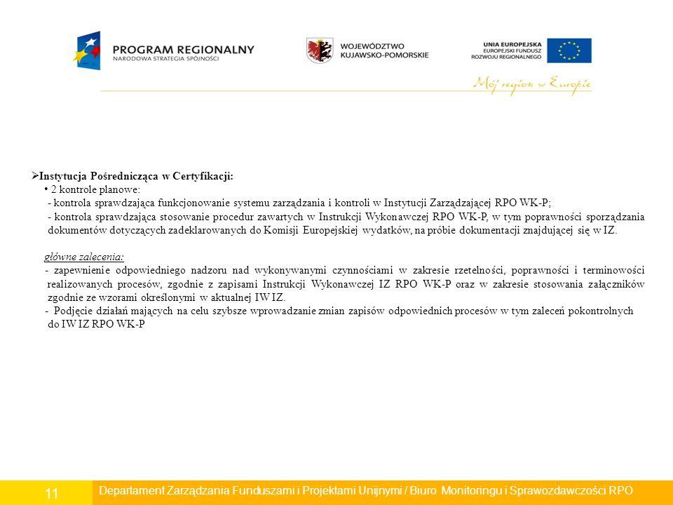Departament Polityki Regionalnej/ Wydział Zarządzania RPO/ Biuro Monitoringu i Sprawozdawczości RPO 11 Departament Rozwoju Regionalnego/ Wydział Zarządzania RPO/ Biuro Monitoringu i Sprawozdawczości RPO Departament Zarządzania Funduszami i Projektami Unijnymi / Biuro Monitoringu i Sprawozdawczości RPO  Instytucja Pośrednicząca w Certyfikacji: 2 kontrole planowe: - kontrola sprawdzająca funkcjonowanie systemu zarządzania i kontroli w Instytucji Zarządzającej RPO WK-P; - kontrola sprawdzająca stosowanie procedur zawartych w Instrukcji Wykonawczej RPO WK-P, w tym poprawności sporządzania dokumentów dotyczących zadeklarowanych do Komisji Europejskiej wydatków, na próbie dokumentacji znajdującej się w IZ.