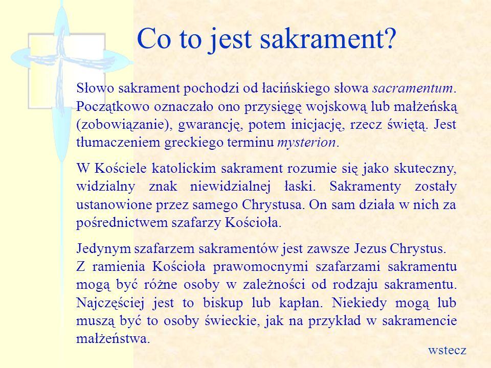 Słowo sakrament pochodzi od łacińskiego słowa sacramentum. Początkowo oznaczało ono przysięgę wojskową lub małżeńską (zobowiązanie), gwarancję, potem